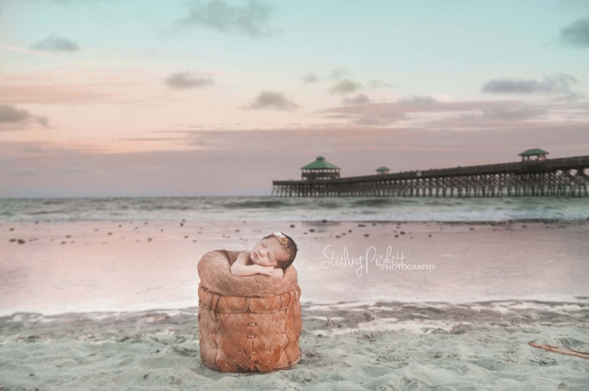 charleston sc sunset folly beach newborn photography